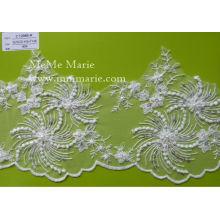 Elfenbein Blume Spitze Braut Hochzeit Spitze Stoff mit Pailletten & Perlen CT298B-R