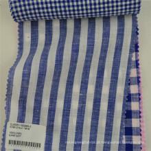 atacado puro fio tingido tarja tecido de linho para a camisa
