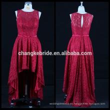 Nuevo vestido trasero largo del frente del vestido de noche del cordón largo Vestido sin mangas alto bajo del vestido de noche que costura los patrones