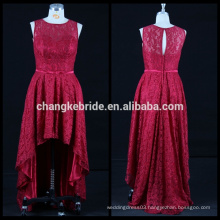 New lace evening dress short front long back dress Sleeveless high low evening dress sewing patterns