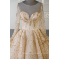 Muslim long sleeves wedding dress bridal gown gold