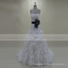 Sweety Pleating Ruffle Rosettes Organza Wedding Gown Chapel Train