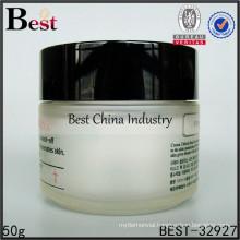 empty 50g opaque glass jar black cap