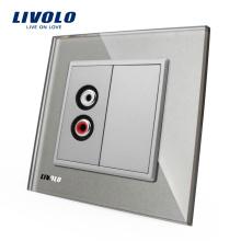 Настенное аудио гнездо Livolo со стеклянной панелью VL-C791AD