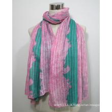 Senhora moda impresso lenço de seda de viscose (yky1031)
