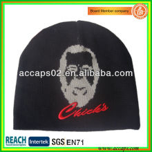Novelty knitted hat jacquard man face and 3D embroidery BN-2651