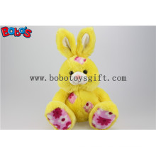 "9.5"" Made in China Plush Yellow Sitting Rabbit Toy with Flower Fabric Patch Bos1144"