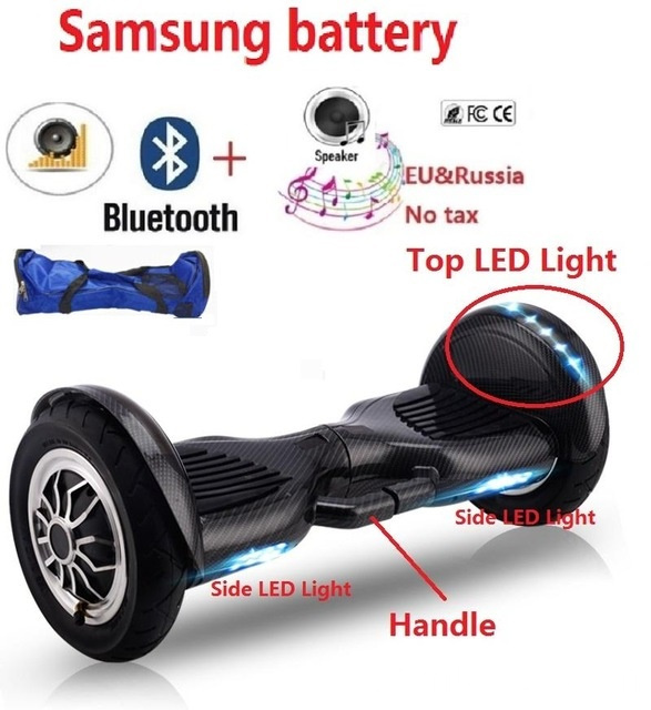 Hoverboard com luzes LED Bluetooth roda grande