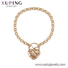 71862 Xuping simple style fancy love heart shaped bracelet gold jewelry