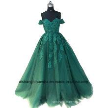 Luxury Strapless Hand-Applique Lace Ball Gown Evening Dress Wedding Dress