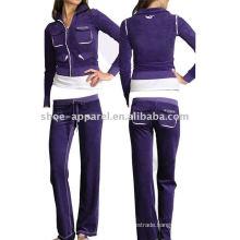 ladies designer sportswear velour tracksuit