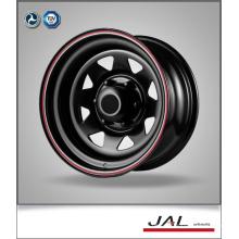 Trailer Rad in schwarz Finish mit roten Streifen Stahl Auto Räder Felge