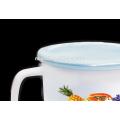 16cm(2000ml) full decal enamel mug with PE lid or metal lid
