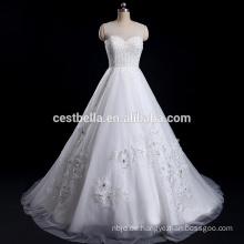 Luxuriöses Ballkleid-Kleid mit schwerer Perlen-Schatz-Elfenbein-klassisches nach Maß Hochzeits-Kleid