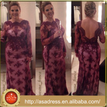 ABS-020 Plus Size Wedding Mother Dress Purple Long Sleeve Low Back vestido mae da noiva longo Mother of the Bride Dresses