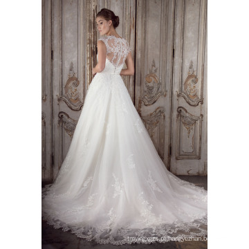 Mais novo Cap 2016 manga pura de volta um laço de linha nupcial vestido de noiva