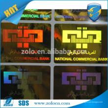 HOT SALE alibaba China Shenzhen ZOLO logotipo personalizado ouro e prata holograma adesivo