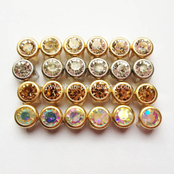 Metal Studs with Glass Stone Centered Embellishment