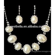 Großhandel weiße Perle Zubehör Brautschmuck Halskette Ohrring