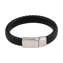bangle-44 Xuping simple fashion design stainless steel jewelry leather bracelet for men