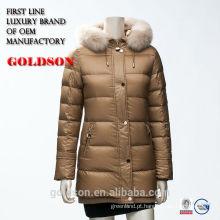 moda feminina exterior jaqueta jaqueta estilo longo com pele real 2016