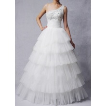 Ball Gown Princess One-shoulder Floor-length Oraganza Beading Layers Wedding Dress