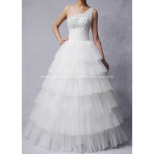 Ball Gown Princess One-shoulder Floor-length Oraganza Beading Layers Wedding Dress