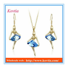 Bridal jóias indianas conjuntos colar de pingente de cristal azul e brinco conjunto