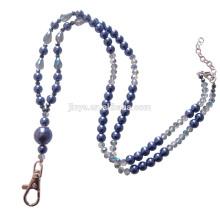Sundysh Beaded Lanyard, Blue Pearl Crystal Beaded Keychain Lanyard Necklace For Badge ID Card Holder