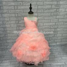 Индивидуальные-line оборками юбка жемчуг бант сзади платье девушки цветка девушки платья партии FGZ07