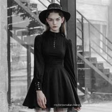 OPQ416- PUNK RAVE Gothic High Collar Tie Rope Dress ladies sexy black dress