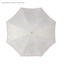 Lady Wedding Lace Large Manual Plastic Handle Rain Sun 2 Folding Umbrella