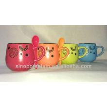 Special Drum Matte de color vitrificado Mug con Debossed patrón para BS131010B
