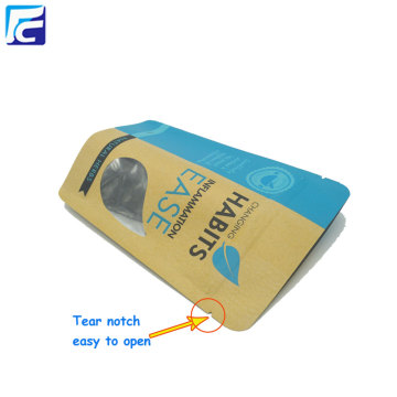 Snack Packaging Kraft Paper Ziplock Borse con finestra