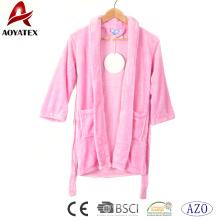 Kids bathrobe pink flannel fleece soft bath robe baby