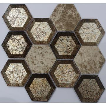 Oro aspecto hexagonal decoración mosaico