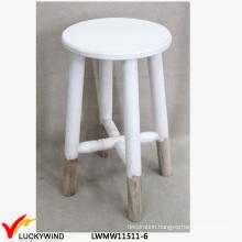 White Shabby Chic Wooden Round Stool