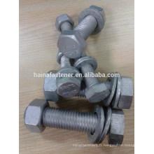 Boulon hexagonal galvanisé gr8.8 avec rondelle à noix Boulon Hex haute résistance 8.8