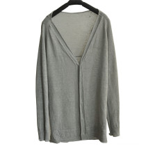 Spring Deep V-Neck Knit Women Cardigan with Button