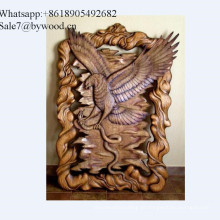 Tapeçaria de parede artesanal decoração de casa esculpida águia painéis de parede de madeira no mercado russo