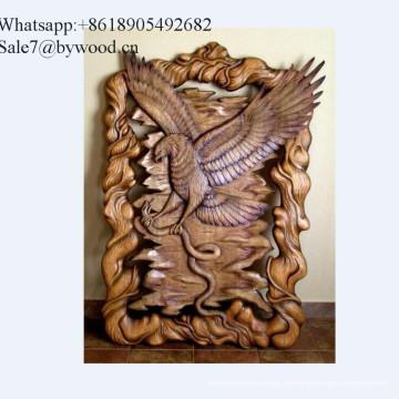 Colgante de pared hecho a mano de decoración del hogar tallado en madera de águila paneles de pared en el mercado ruso