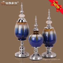 2016 new design flower vase with glass metal material for christmas ornaments