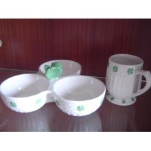Ceramic 3in1 Bowl 3 Comparts Ceramic Bowl