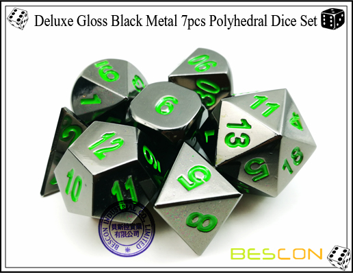 Deluxe Gloss Black Metal 7pcs Polyhedral Dice Set-5
