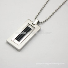 Rectangle Pendant Stainless Steel Ball Chain Necklace For Men