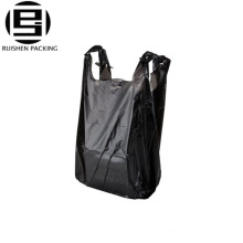 Grocery store black hdpe t-shirt packing bags