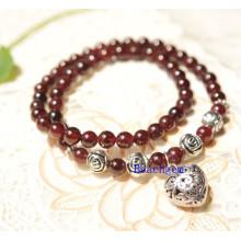 Bracelet de perles de grenat naturel avec breloque, pendentif argent (BRG0051)