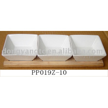 Wholesale platos de cerámica cena blanca con madera