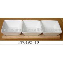 Wholesale blanc plaques en céramique de dîner avec du bois