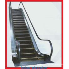 Escaleras mecánicas comerciales de interior con placa de aterrizaje grabada de acero inoxidable